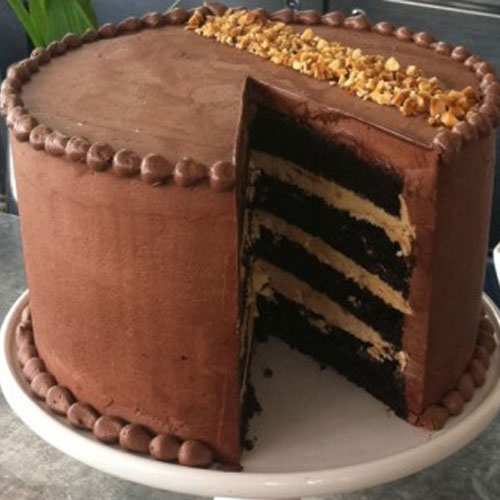 layers of moist chocolate cake filled with peanut butter mousse and ...